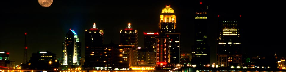 Louisville KY Downtown Skyline Night